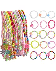 obmwang 30Pcs Princess Necklace Bracelet Set, Costume Jewelry Play Jewelry for Girls Dress Up Pretend Play Party Favors