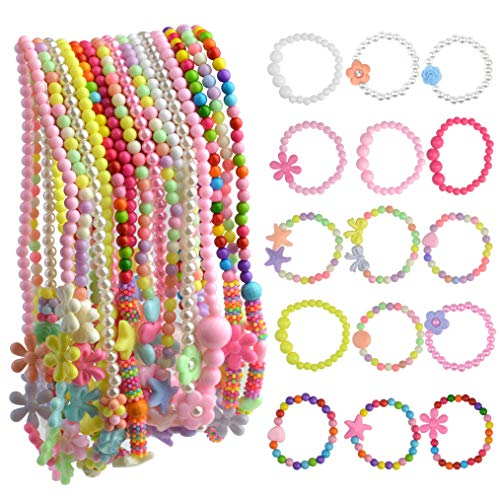 obmwang 30Pcs Princess Necklace Bracelet Set, Teenager Costume Jewelry Play Jewelry for Women Dress Up Pretend Play Party Favors
