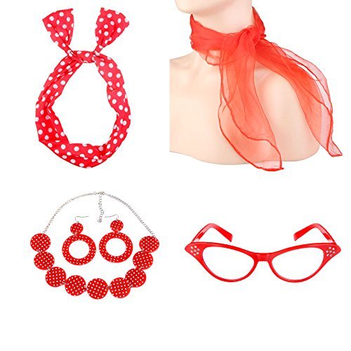 ECOSCO Women's 50's Costume Accessories Set Girls Neck Scarf Bandana Headband Earrings Necklaces Cat Eye Glasses Costumes (Red)