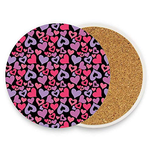 BeautyToiletLidCoverABC Silhouette Hearts Pinkish Romantic Shapes Valentines Day Celebration Happy Cheerful Coaster for Drinks,Wallpaper Ceramic Round Cork Table Cup Mat Coaster Pack Of 1