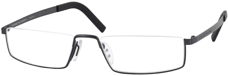 Porsche 8310 Titanium Single Vision Half Frame Designer Reading Glasses, Gunmetal Black, +0.75