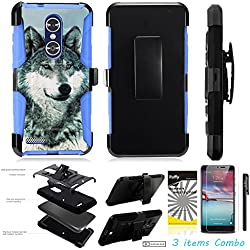 For ZTE MAX XL N9560 /3Items [Clear LCD Film]+Stylus Pen+[Impact Resistance] Dual Layer [Belt Clip] Holster Combo [KickStand] Phone Case Grey Wolf - Blue