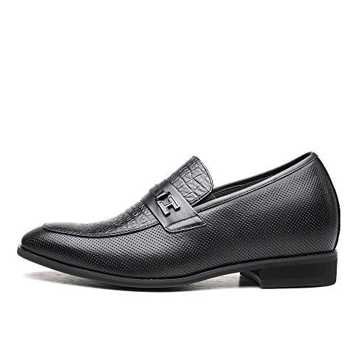 CHAMARIPA Soulier rehaussant en Cuire de couleur noire chaussure élevante de Noir pour homme - plus grand de 7 cm