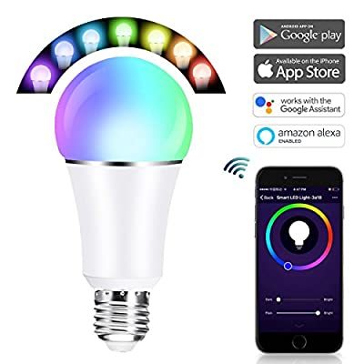 CoastaCloud Smart Wi-Fi Led Light Bulb, Dimmable, Wake-up Lights, Color Tunable, No Hub Required, Free APP and Voice Control, RGB Led Light Bulb Work with Alexa and Google Assistant, E26