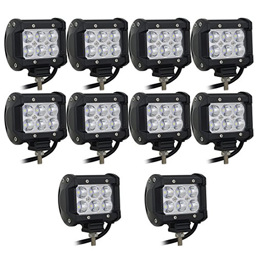 Willpower 10PCS 18w 4 inch Flood LED Work Light Bar for Truck Car ATV SUV 4X4 Jeep Truck Driving Lamp (4 In Spot)