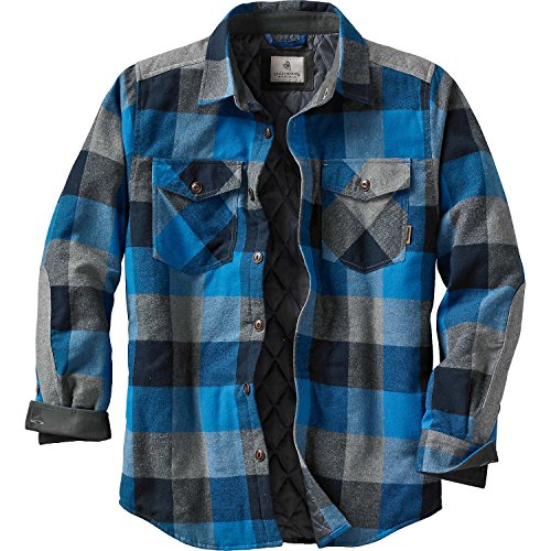 - Legendary Whitetails Men's Woodsman Quilted Shirt Jacket Blue Graphite Plaid Small