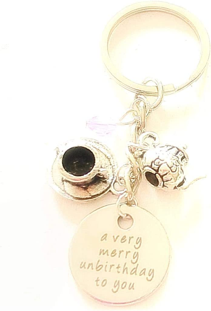 A Very Merry Unbirthday To You Mad Hatter-Inspired Alice in Wonderland Keychain Gift for a Free Spirit
