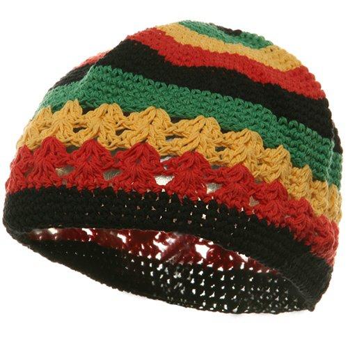 Hand Crocheted Beanie (02)-Rasta