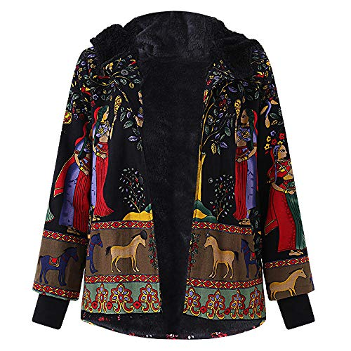 (JOFOW Womens Jacket Parka Plus Size Egypt Mural Totem Print Hooded Flannel Lined Warm Exotic Long Loose Coats Winter XXXL (4XL =US:14-18,Black-Mural))
