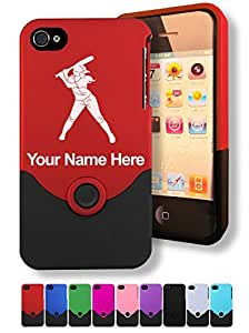 Engraved iPhone 4/4S Case/Cover - WOMAN SOFTBALL PLAYER - Personalized for FREE (Click the CONTACT SELLER link after purchase and send a message with your case color and engraving request)
