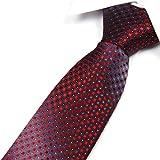 """TOPTIE Men's Diamond Woven Tie 3.2"""" Inch Necktie Tie - Various Colors - RED"""