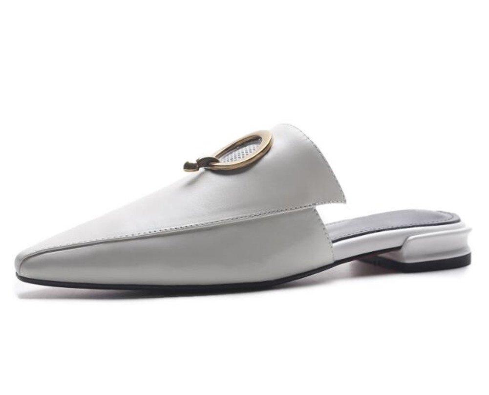 Damen Sandalen Lackleder Flip Flops Geschlossene Zehe Faulenzer Büro & Karriere Mules, White, EU35