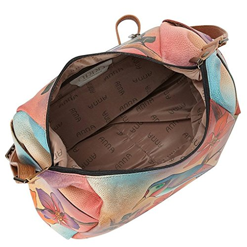 Real on Handbag Pocket Leather with Hand Hobo Anna Anuschka Design Purse Multi Brunch on Bird Painted Purse Holder ng0AqYfAwE
