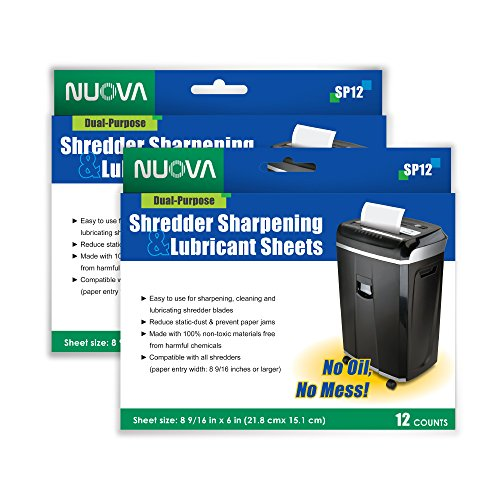 Nuova Shredder Sharpening & Lubricant Sheets - 24 counts (12 X 2-Pack) by NUOVA