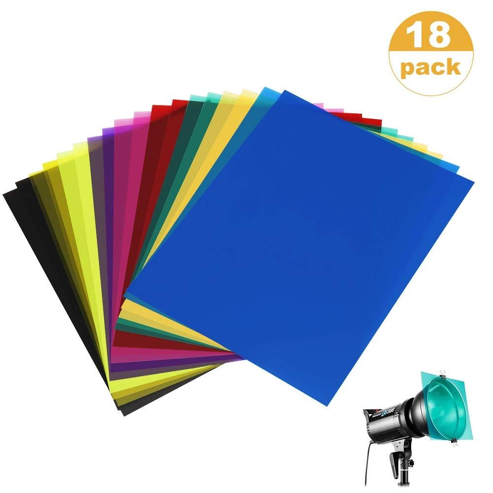 SAKOLLA 18 Pack Color Correction Gel Light Filter - Transparent Color Lighting Gel Filter Plastic Sheets, 8.5 by 11 Inches, 9 Colors by Sakolla