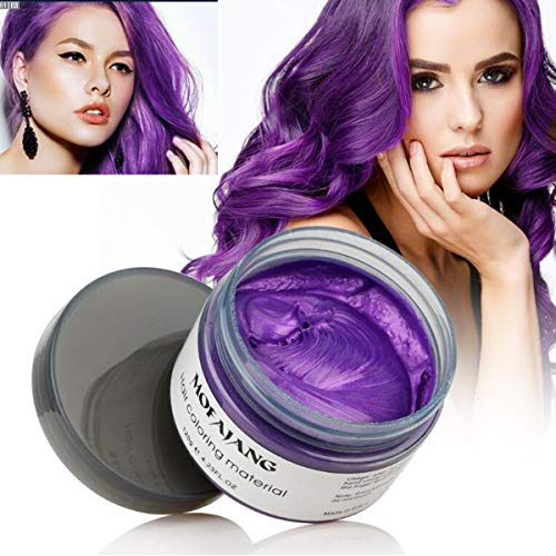 Purple Hair Wax, YHMWAX Instant Hairstyle Mud Cream, Natural Hair Coloring Wax Material Disposable Hair Dye Wax Ash for Cosplay,Party,Masquerade, Halloween.etc (Purple)