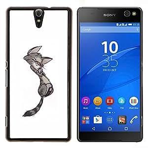 Gatito lindo del gato Dibujo minimalista Gay- Metal de aluminio y de plástico duro Caja del teléfono - Negro - Xperia C5 E5553 E5506 / C5 Ultra