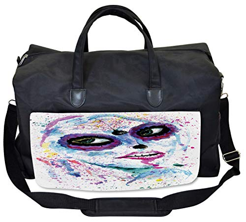 Ambesonne Ethnic Gym Bag, Halloween Lady Make Up, Large Weekender Carry-on ()
