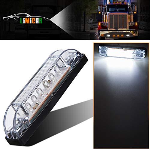 (LIMICAR Utility Strip Light Clear Lens White 12V 6LED Auto Boat RV Marine Trailer Truck Marker Light LED Light Bar)