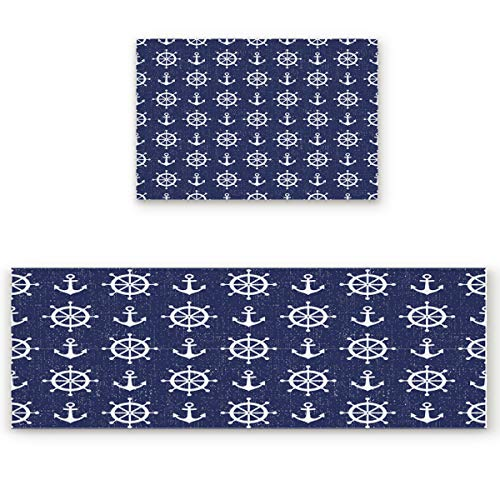 SODIKA 2 Pieces Kitchen Rug Set,Non-Skid/Slip Washable Doormat Floor Runner Bathroom Area Rug Carpet,Nautical Theme Anchor (19.7x31.5in+19.7x63 inches) from SODIKA