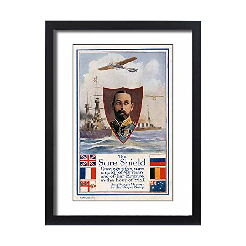 Framed 24x18 Print of WW1 - King George V - his message to the Royal Navy (11582287)