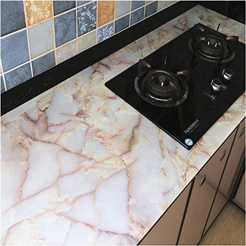 Emoyi Whitish-yellow Look Marble Effect Contact Paper PVC Wall sticker Art Murals Counter Top 12''x79'' - Art Counter