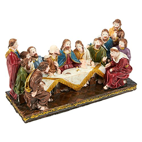 Supper 12 Disciples Last (Religious Statues The Last Supper - Hand-Painted Last Supper Resin Collectible Figurine, Christian Tabletop Decoration for Home, Perfect Gift for Christmas and Festive Celebrations, 6 x 3.5 x 2.2 Inch)