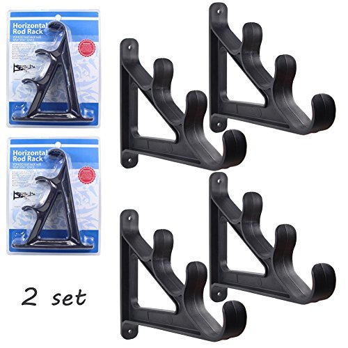 Croch Horizontal Wall Fishing Rod Rack for Fishing Rod Storage - 2 set by Croch