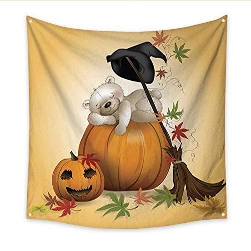Anniutwo Party Decorations Tapestry Teddy Bear Sleeping on a Pumpkin at Halloween Living Room Bedroom Dorm Decor 47W x 47L -
