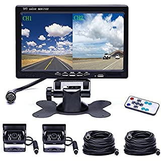 Sale Off Camecho Vehicle Backup Camera 4 Split Monitor Front View Rear View Camera Auto 18 IR Night Vision Waterproof Aviation 4 Pins Connector with 33 ft Cables for Trucks RV Trailer Bus
