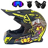LXB Male and Female Adult Off-Road Helmet Youth Off-Road Motorcycle/Bicycle Outdoor Sports Helmet AM Mountain Bike Crossbike Enduro Sports DOT Helmet with Gloves Storm mask and Glasses