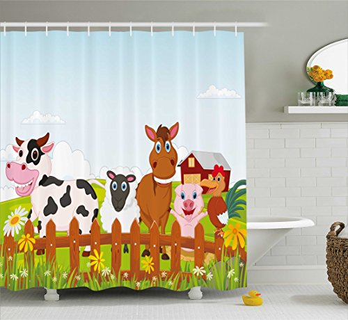 Ambesonne nimal Shower Curtain by, Cute Farm Creatures with Cow Horse Goat Pig and Chicken by the Fences Kids Cartoon, Fabric Bathroom Decor Set with Hooks, 70 Inches, - Shower Pigs Curtain