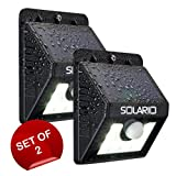 Super Bright Outdoor Solar Lights with 8 LEDs- Set Of 2- Maintenance Free Motion Activated Light- 100% Weatherproof Body (Black) Review
