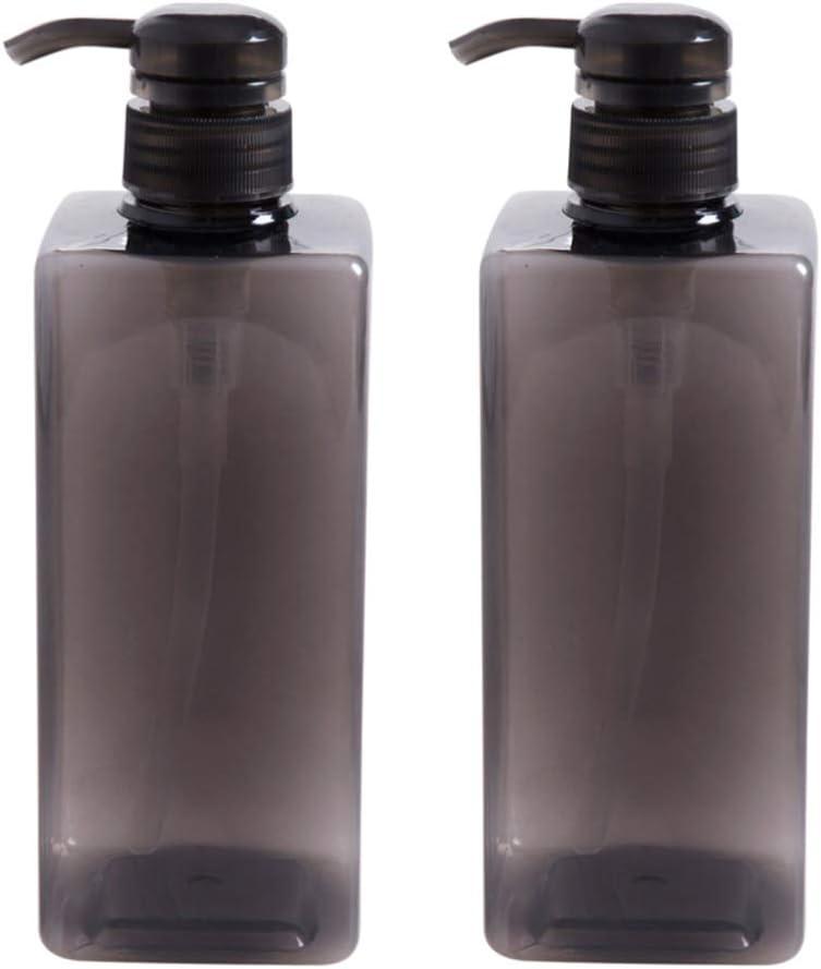 ToPBATHY - Lote de 2 botellas de gel de ducha de 600 ml, de plástico vacío, con bomba de jabón, botella recargable, champú, botella líquida, color negro
