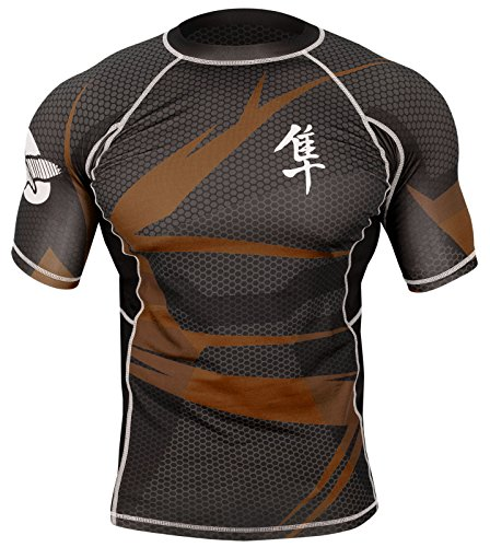 Hayabusa Metaru 47 Silver Short Sleeve BJJ Rash Guards (Black/Brown, - Rash Hayabusa Guard