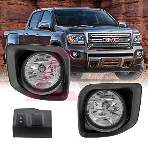 Winjet WJ30-0502-09 OEM Series for [2015-2018 GMC Canyon] Clear Lens Factory Style OE Fitment Replacement with Bezels, Bulbs, Relay, Panel Driving Fog Lights + Switch + Wiring Kit