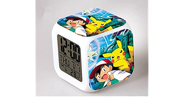 Amazon.com : Cartoon Pokemon Colorful Led Action Figures Alarm Clock Pikachu Reloj Despertador Elf Student Digital Saat Creative Glowing Toy : Baby