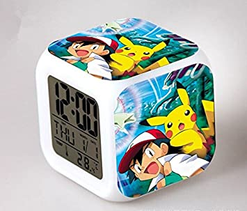 Amazon.com : Cartoon Pokemon Colorful Led Action Figures Alarm Clock ...