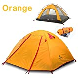 Backpacking Tent - Topnaca 2-3-4 Person 3 Season Backpacking Tent, Waterproof Windproof Double Layer Double Doors Double Skylight Aluminum Rod, for Camping Hiking Travel (Orange, 2 Person)