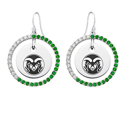 Colorado State Rams Sterling Silver and Green Cz Circle Style Earrings by College Jewelry