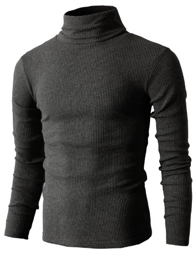 H2H Mens Slim Fit Basic Ribbed Thermal Turtleneck Pullover Sweaters CHARCOAL US L/Asia XL (KMTTL033)