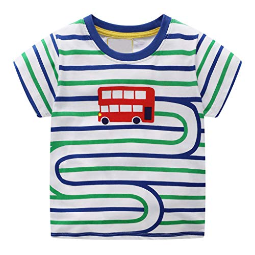 - Toddler Kids Baby Boys Clothes Short Sleeve Cartoon Bus Pattern Tops Stripe T-Shirt Blouse Green (3-4Years, Green)