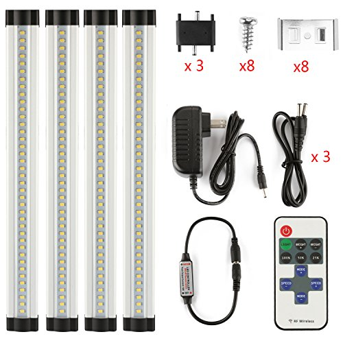 LXG 12in Dimmable LED Under Cabinet Lighting, 12W 2700K Warm White 1000LM, Clear Cover Led Strips,11key IR Remote Control 4 Pack (Under Cabinet Light Dimmable compare prices)