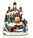 LED Musical Christmas Animated Traditional Village Snow Scene with Moving Train
