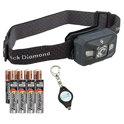 Black Diamond Storm Waterproof Headlamp (Black) Bundle with 4 Extra Energizer AAA Batteries and a Lumintrail Keychain Light