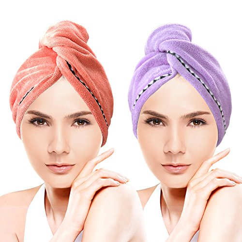 Miracu 2 Pack Hair Drying Towels?Quick Dry Ultra Absorbent Microfiber Hair Towel Turban Wrap Shower Head Towel for Women with Buttons