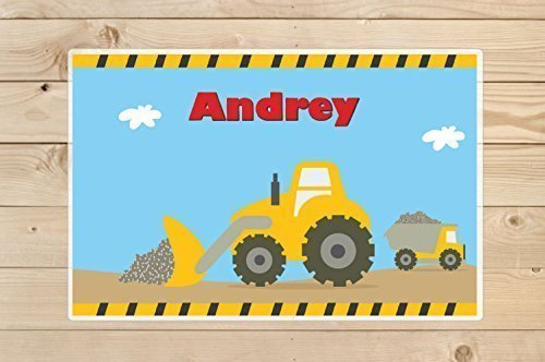 Kids-Personalized-Placemat-Construction-trucks-Kids-Placemats