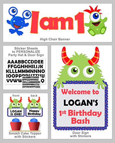 Monster 1st Birthday Party Decorations - High Chair Banner, Door Sign, Smash Cake Topper - Personalize Hat and Door Sign with Included Stickers - Handmade in USA -