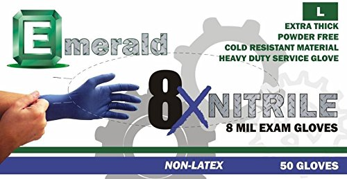 Emerald High Risk Nitrile 8X Powder-Free Gloves 8 mil Large, Case (10 BX/CS) by Emerald