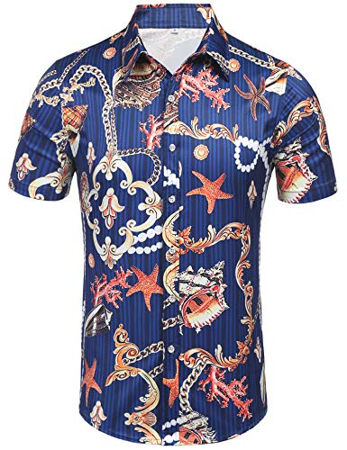 Daupanzees Men's Hawaiian Shirt for Spring Break and Summer - Aloha Shirt for Guys (Blue XL)